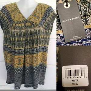 NEW LUCKY BRAND BLACK BLUE GOLD TOP XS NWT